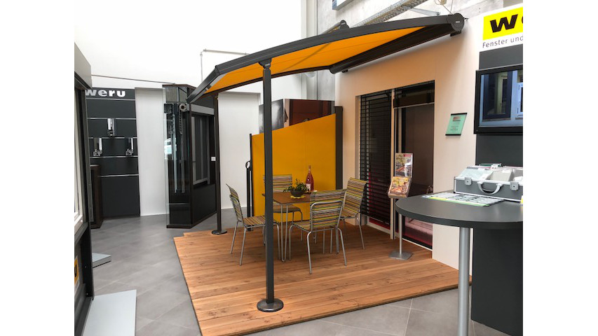 warema pergola markise markisen keller ag warema p40 pergola markise gebogen glaserei thoma. Black Bedroom Furniture Sets. Home Design Ideas