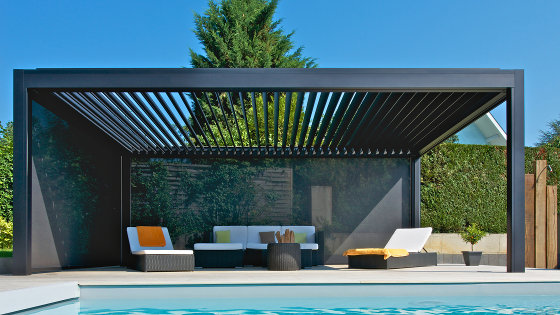 pergola mit lamellendach als sonnenschutz. Black Bedroom Furniture Sets. Home Design Ideas